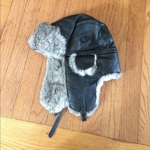 Women's leather and fur hat